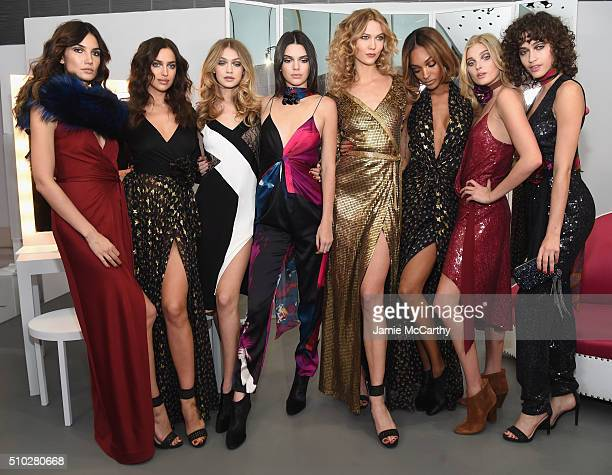 Lily Aldridge Irina Shayk Gigi Hadid Kendall Jenner Karlie Kloss Jourdan Dunn Elsa Hosk and Alanna Arrington pose in the Diane Von Furstenberg Fall...