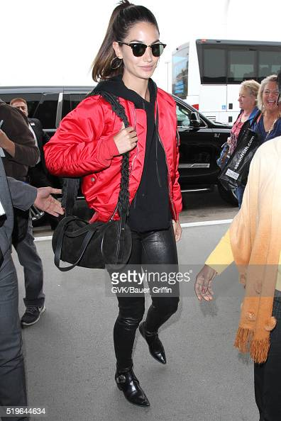 Lily Aldridge is seen at LAX on April 07 2016 in Los Angeles California