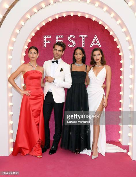 Lily Aldridge Jon Kortajarena Laura Harrier and Bella Hadid attend Bvlgari Party at Scuola Grande della Misericordia on June 30 2017 in Venice Italy