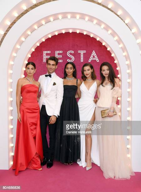 Lily Aldridge Jon Kortajarena Laura Harrier Bella Hadid and Shu Qi attend Bvlgari Party at Scuola Grande della Misericordia on June 30 2017 in Venice...