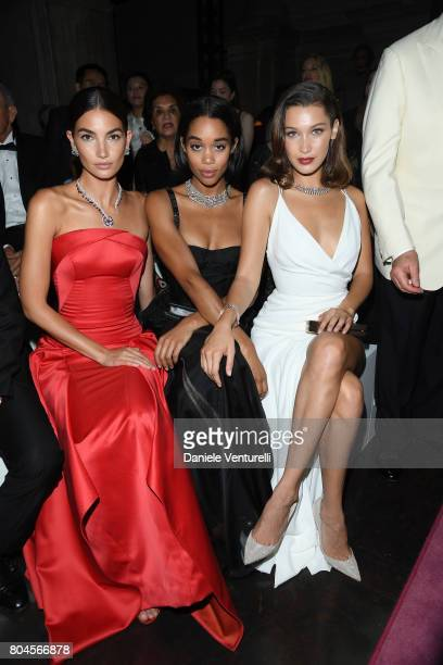 Lily Aldridge Laura Harrier and Bella Hadid attend Bvlgari Party at Scuola Grande della Misericordia on June 30 2017 in Venice Italy