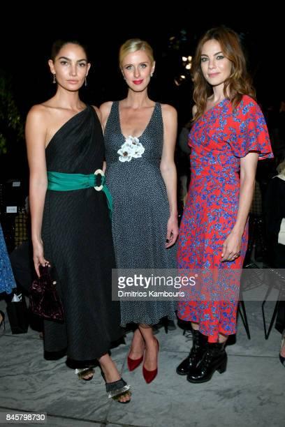 Lily Aldridge Nicky Hilton Rothschild and Michelle Monaghan attend Oscar De La Renta fashion show during New York Fashion Week on September 11 2017...