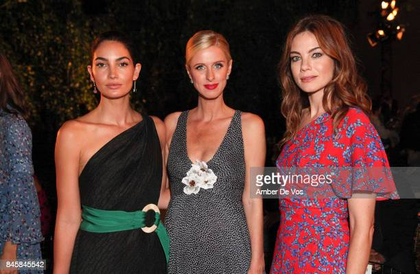 Lily Aldridge Nicky Hilton Rothschild and Michelle Monaghan attend the Carolina Herrera show at The Museum of Modern Art on September 11 2017 in New...