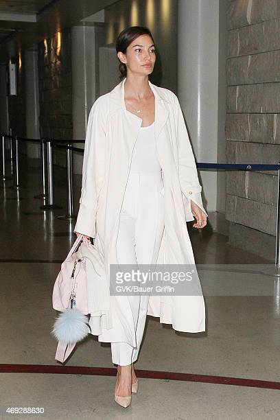 Lily Aldridge seen at LAX on April 10 2015 in Los Angeles California