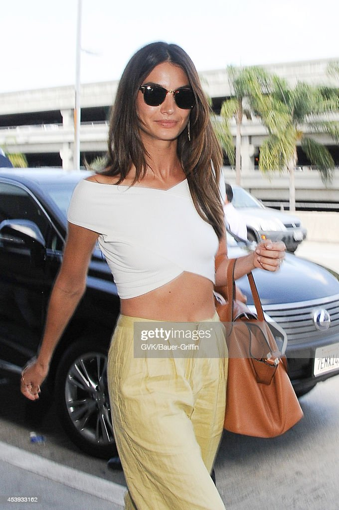 Lily Aldridge seen at LAX on August 21, 2014 in Los Angeles, California.