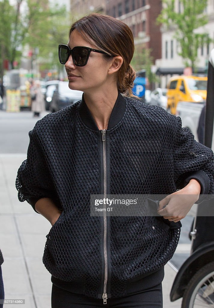 Lily Aldridge seen outside her hotel on May 2, 2016 in New York City.