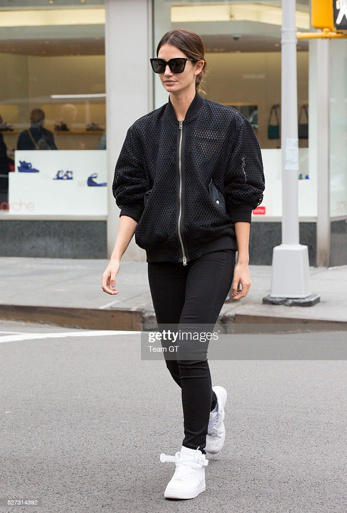 <a gi-track='captionPersonalityLinkClicked' href=/galleries/search?phrase=Lily+Aldridge&family=editorial&specificpeople=2110490 ng-click='$event.stopPropagation()'>Lily Aldridge</a> seen outside her hotel on May 2, 2016 in New York City.