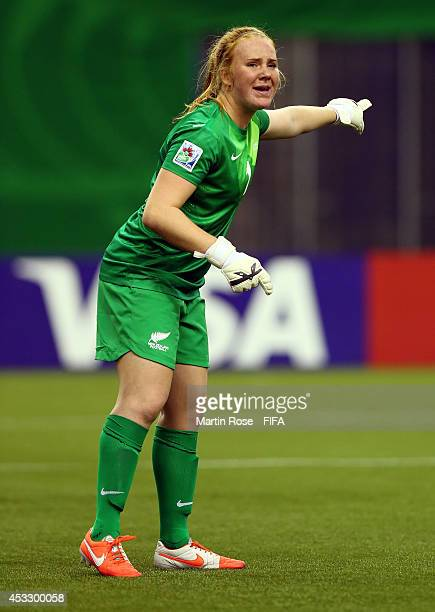 Lily Alfeld goalkeeper of New Zealand gives insructions during the FIFA U20 Women's World Cup 2014 group D match between New Zealand and Paraguay at...