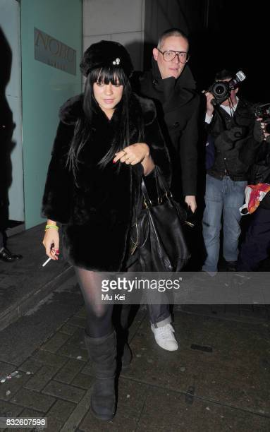 Lily Allen and fashion designer friend Giles Deacon dine at Nobu restaurant in Park Lane on January 22 2009 in London England