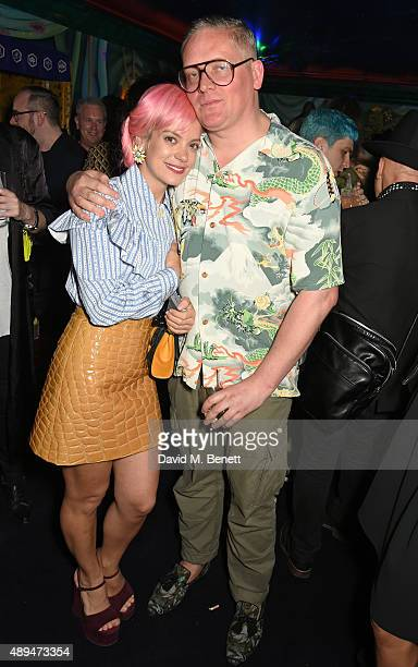 Lily Allen and Giles Deacon attend the Love Magazine miu miu London Fashion Week party at Loulou's on September 21 2015 in London England