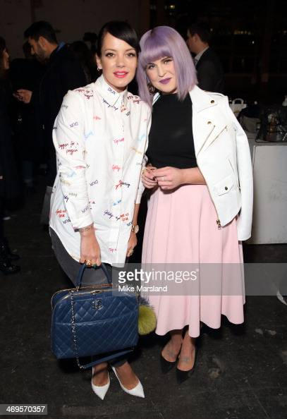 Lily Allen and Kelly Osbourne attend the House of Holland show at London Fashion Week AW14 at on February 15 2014 in London England