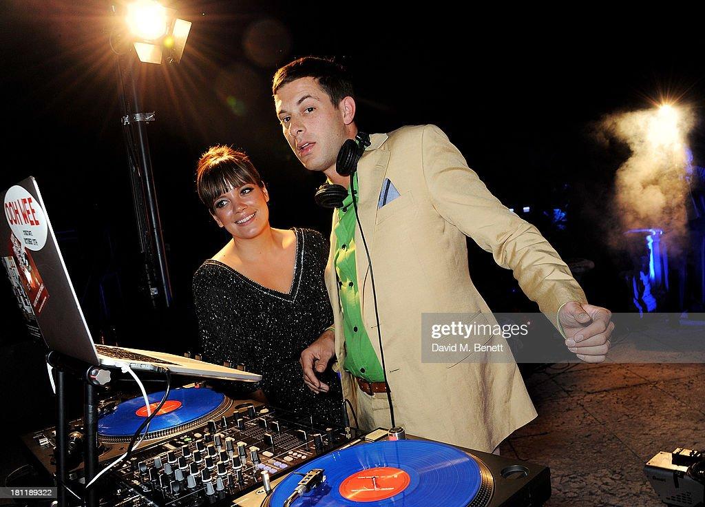 Lily Allen (L) and Mark Ronson DJ at the MARTINI 150 anniversary gala at Villa Erba, Lake Como on September 19, 2013 in Como, Italy.