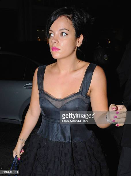 Lily Allen attending the 'Beautiful Inside My Head' party at Sotheby's auction house in Bond Street on September 12 2008 in London England