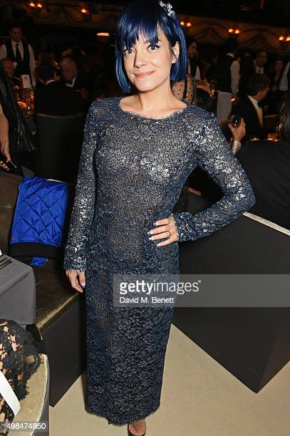 Lily Allen attends a drinks reception at the British Fashion Awards in partnership with Swarovski at the London Coliseum on November 23 2015 in...