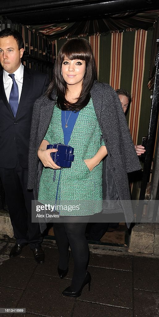 <a gi-track='captionPersonalityLinkClicked' href=/galleries/search?phrase=Lily+Allen&family=editorial&specificpeople=724899 ng-click='$event.stopPropagation()'>Lily Allen</a> attends Annabel's pre-BAFTA party on February 9, 2013 in London, England.