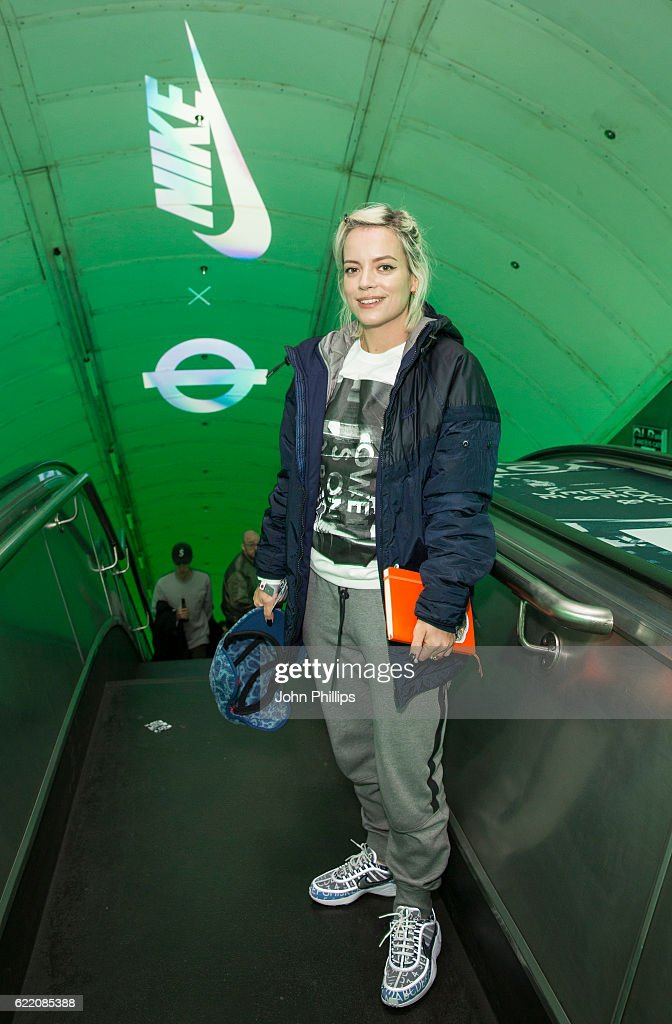 Lily Allen attends NikeLab x Roundel launch at Charing Cross underground Station on November 9, 2016 in London, England.
