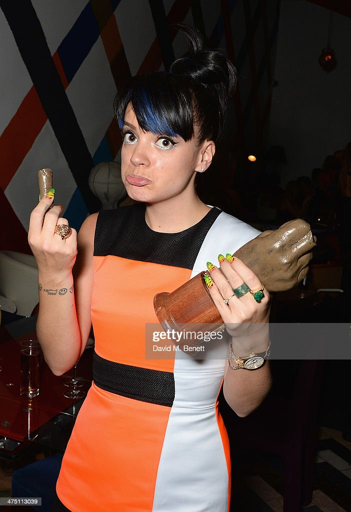 <a gi-track='captionPersonalityLinkClicked' href=/galleries/search?phrase=Lily+Allen&family=editorial&specificpeople=724899 ng-click='$event.stopPropagation()'>Lily Allen</a> attends the after party for the NME Awards at Sketch on February 26, 2014 in London, England.