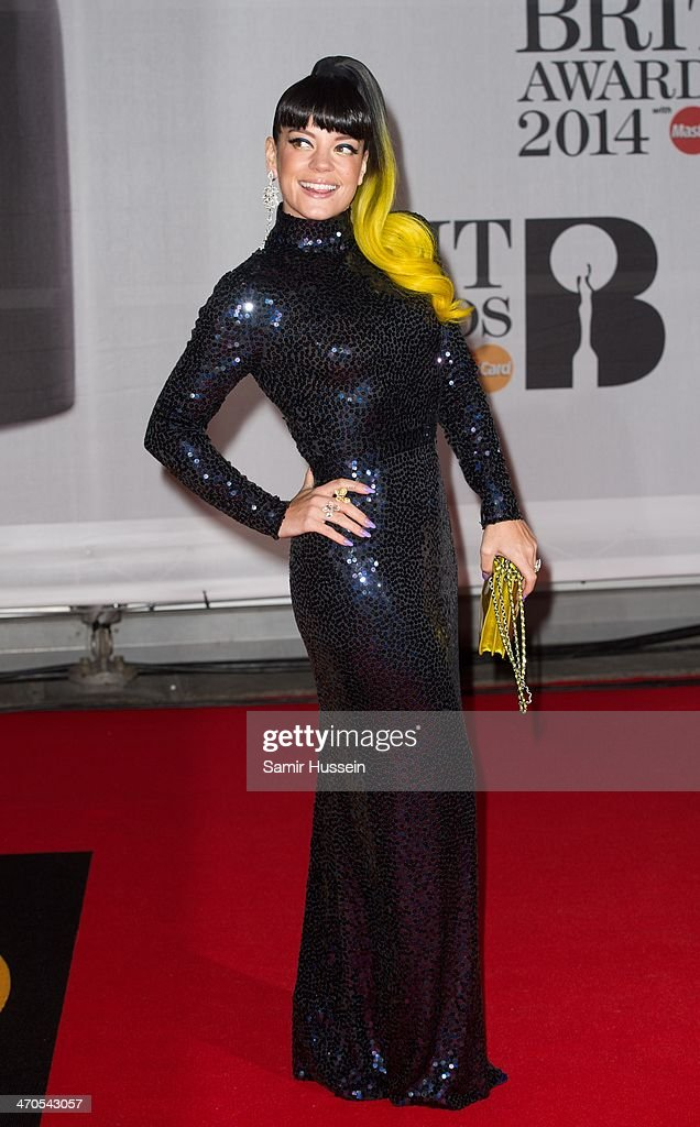 Lily Allen attends The BRIT Awards 2014 at 02 Arena on February 19, 2014 in London, England.