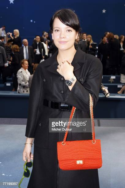 Lily Allen attends the Chanel fashion show during the Spring/Summer 2008 readytowear collection show at Grand Palais on October 5 2007 in Paris France