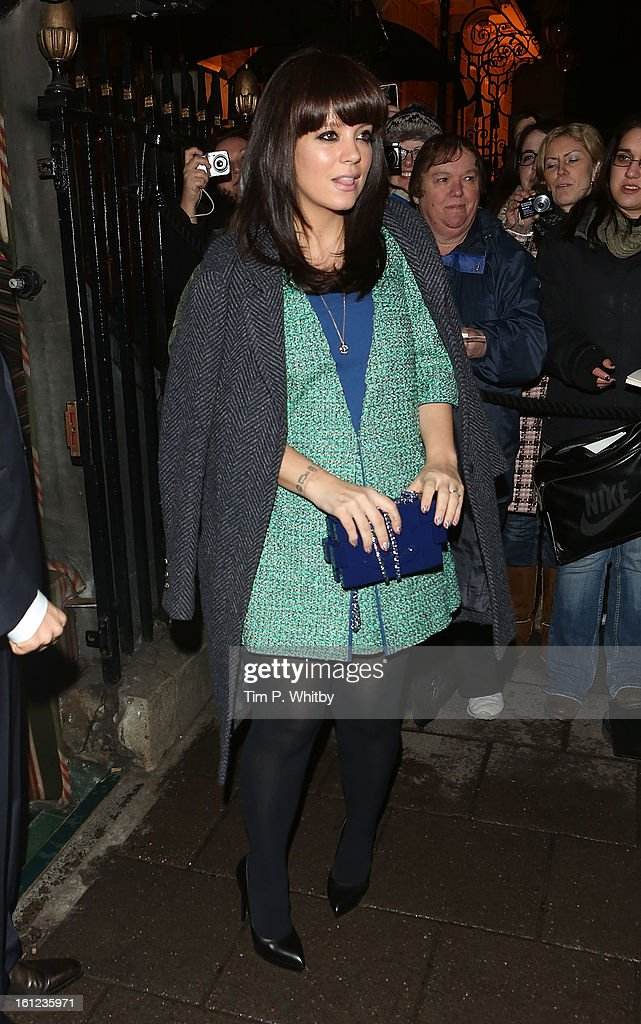 <a gi-track='captionPersonalityLinkClicked' href=/galleries/search?phrase=Lily+Allen&family=editorial&specificpeople=724899 ng-click='$event.stopPropagation()'>Lily Allen</a> attends the Charles Finch and Chanel pre-BAFTA dinner at Annabels on February 9, 2013 in London, England.