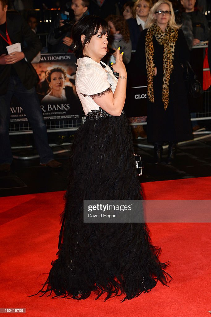 <a gi-track='captionPersonalityLinkClicked' href=/galleries/search?phrase=Lily+Allen&family=editorial&specificpeople=724899 ng-click='$event.stopPropagation()'>Lily Allen</a> attends the Closing Night Gala European Premiere of 'Saving Mr Banks' on the closing night gala during the 57th BFI London Film Festival at The Odeon Leicester Square on October 20, 2013 in London, England.