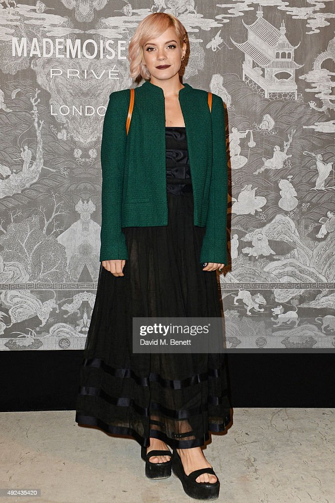 Lily Allen attends the Mademoiselle Prive Exhibition at the Saatchi Gallery on October 12, 2015 in London, England.