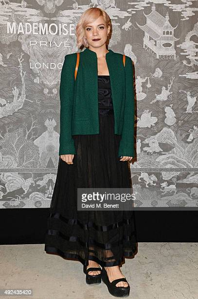 Lily Allen attends the Mademoiselle Prive Exhibition at the Saatchi Gallery on October 12 2015 in London England