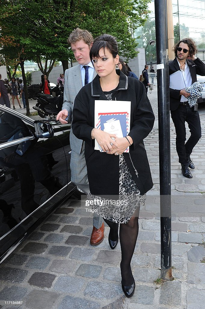 Lily Allen Leaves the Louis Vuitton Menswear Spring/Summer 2012 show as part of Paris Fashion Week at Parc Andre Citroen on June 23, 2011 in Paris, France.