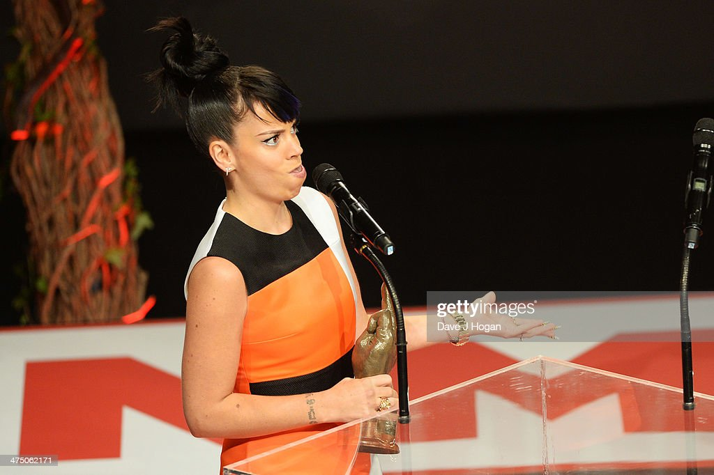 <a gi-track='captionPersonalityLinkClicked' href=/galleries/search?phrase=Lily+Allen&family=editorial&specificpeople=724899 ng-click='$event.stopPropagation()'>Lily Allen</a> onstage at the annual NME Awards at Brixton Academy on February 26, 2014 in London, England.