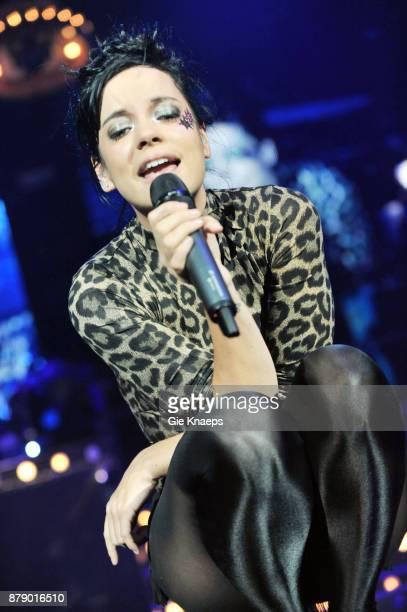 Lily Allen performing on stage Lotto Arena Antwerp Belgium 23rd October 2009
