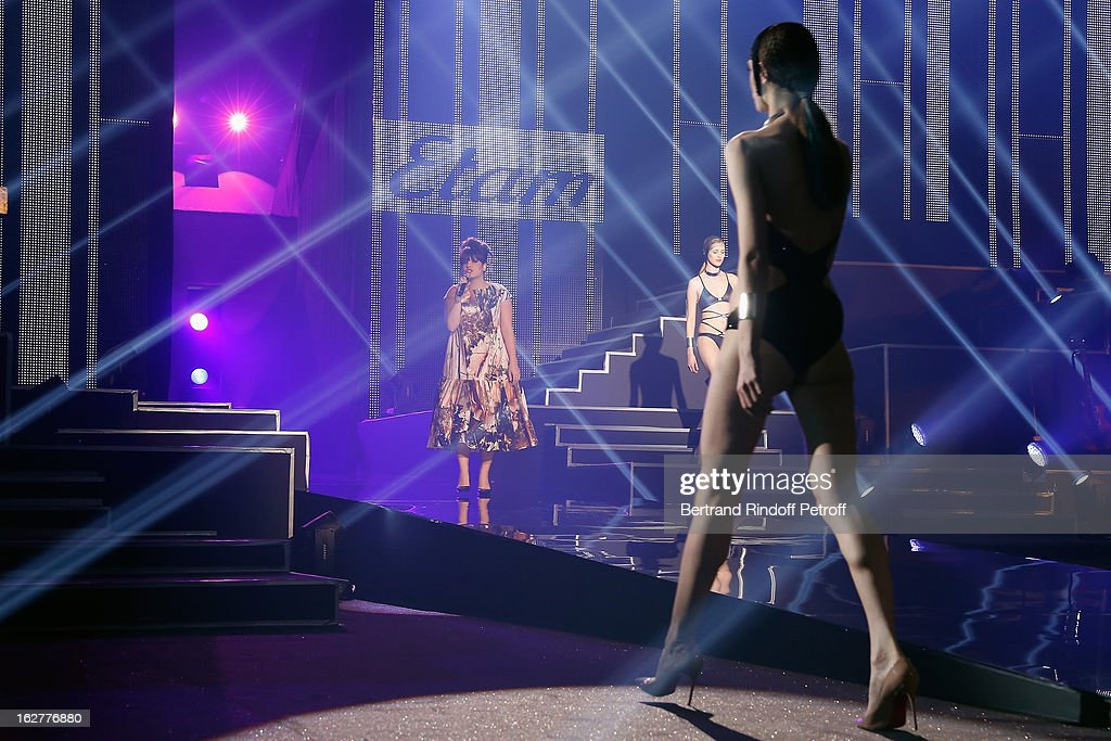 Lily Allen (L) performs during the Etam Live Show Lingerie at Bourse du Commerce on February 26, 2013 in Paris, France.