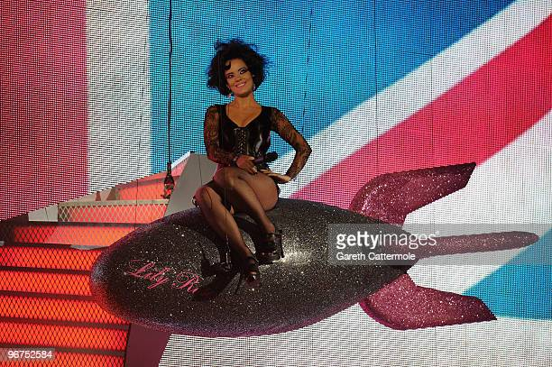 Lily Allen performs live on stage at The Brit Awards 2010 at Earls Court on February 16 2010 in London England