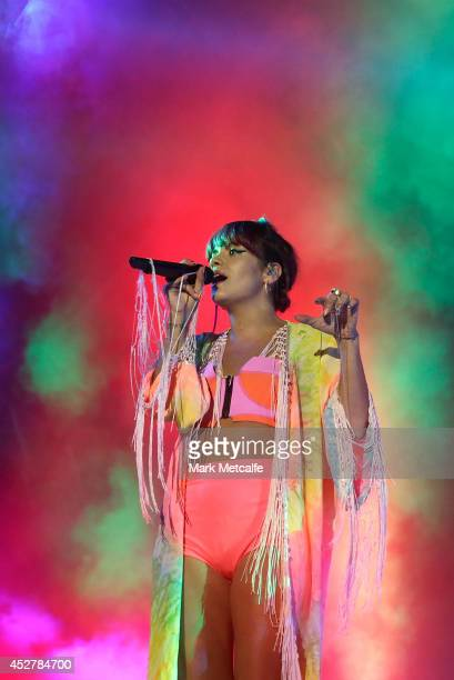 Lily Allen performs on stage at Splendour In the Grass 2014 on July 27 2014 in Byron Bay Australia