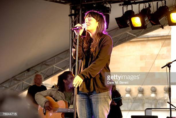 Lily Allen performs on stage at the House Festival at Chiswick House on July 5 2007 in London England