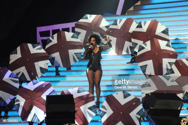Lily Allen performs on stage during The Brit Awards 2010 at Earls Court One on February 16 2010 in London England