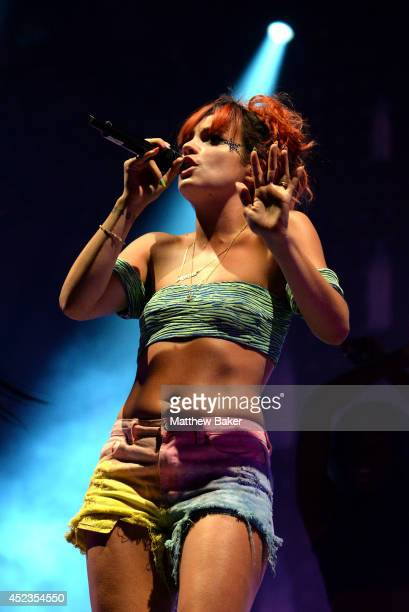 Lily Allen performs on the Obelisk Arena stage at the Latitude Festival at Henham Park Estate on July 18 2014 in Southwold England