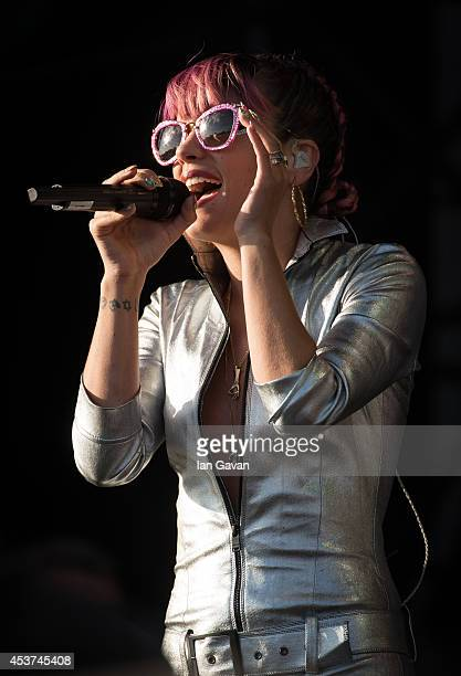 Lily Allen performs on the Virgin Media stage during Day 2 of the V Festival at Hylands Park on August 17 2014 in Chelmsford England