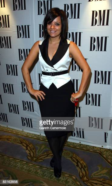 Lily Allen poses at the BMI Awards at the Dorchester Hotel on October 7 2008 in London England