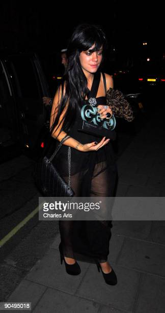 Lily Allen returns to her Hotel after attending The GQ Awards on September 8 2009 in London England
