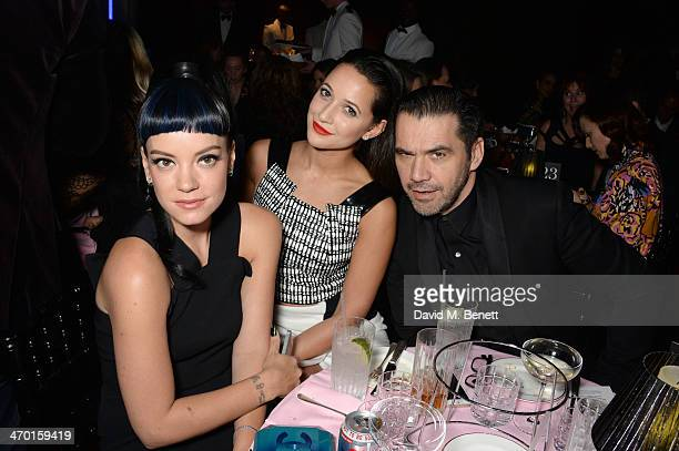 Lily Allen Roxie Nafousi and Roland Mouret attend the Elle Style Awards 2014 at One Embankment on February 18 2014 in London England