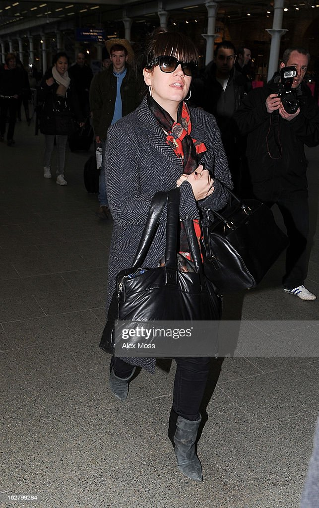 <a gi-track='captionPersonalityLinkClicked' href=/galleries/search?phrase=Lily+Allen&family=editorial&specificpeople=724899 ng-click='$event.stopPropagation()'>Lily Allen</a> Seen Arriving At St Pancras Station on February 27, 2013 in London, England.