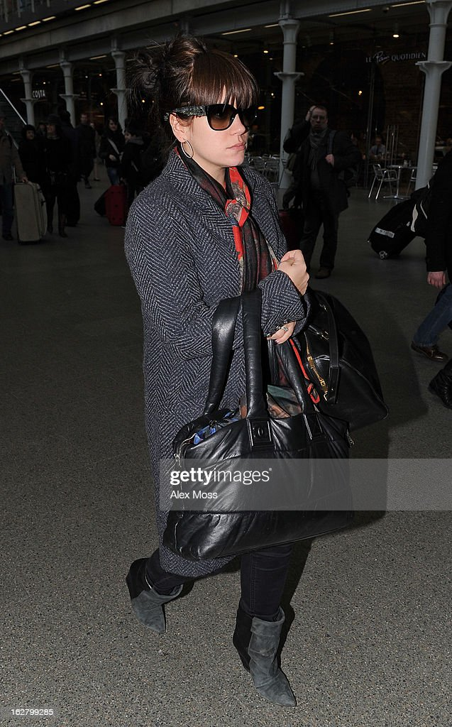 Lily Allen Seen Arriving At St Pancras Station on February 27, 2013 in London, England.