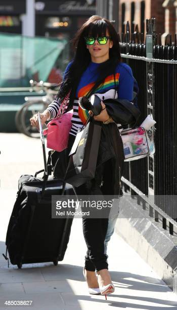 Lily Allen seen leaving her hotel on April 16 2014 in London England