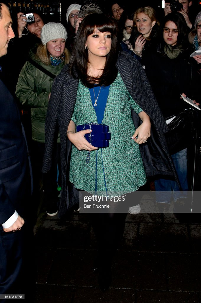 <a gi-track='captionPersonalityLinkClicked' href=/galleries/search?phrase=Lily+Allen&family=editorial&specificpeople=724899 ng-click='$event.stopPropagation()'>Lily Allen</a> sighted arriving at Annabel's Pre BAFTA dinner at Annabel's Berkley Sqaure on February 9, 2013 in London, England.