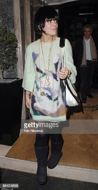 Lily Allen sighted leaving Claridges Hotel on March 13 2009 in London England