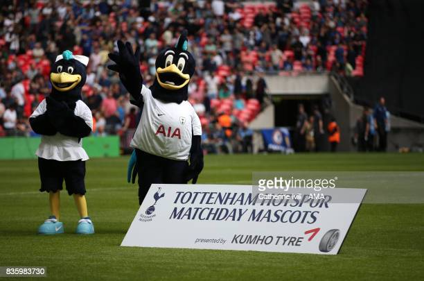 Lily and Chirpy the mascots of Tottenham Hotspur before the Premier League match between Tottenham Hotspur and Chelsea at Wembley Stadium on August...