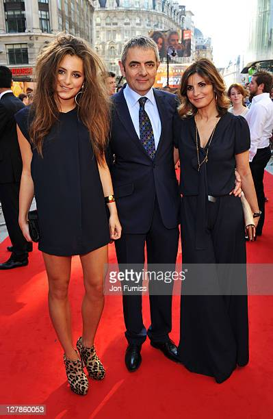 Lily Atkinson actor Rowan Atkinson and Sunetra Sastry attend the 'Johnny English Reborn' UK premiere at Empire Leicester Square on October 2 2011 in...