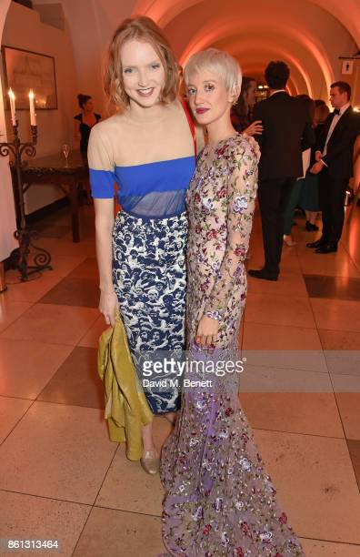 Lily Cole and Andrea Riseborough attend a cocktail reception at the 61st BFI London Film Festival Awards at Banqueting House on October 14 2017 in...