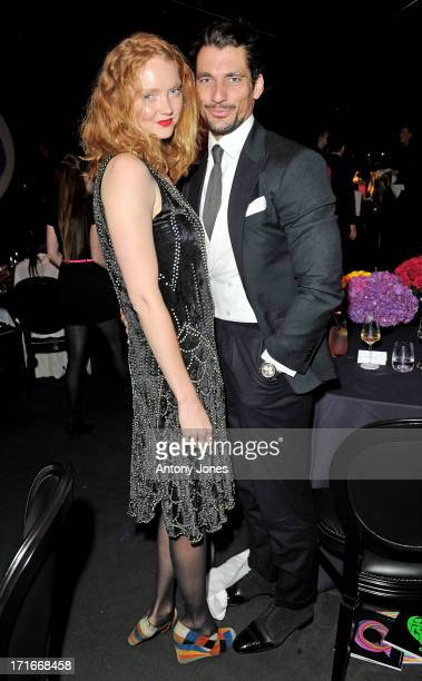 Lily Cole (L) and David Gandy attend the 15th Annual White Tie and Tiara Ball to Benefit Elton John AIDS Foundation in Association with Chopard at Woodside on June 27, 2013 in Windsor, England. No sales to online/digital media worldwide until the 14th of July. No sales before July 14th, 2013 in UK, Spain, Switzerland, Mexico, Dubai, Russia, Serbia, Bulgaria, Turkey, Argentina, Chile, Peru, Ecuador, Colombia, Venezuela, Puerto Rico, Dominican Republic, Greece, Canada, Thailand, Indonesia, Morocco, Malaysia, India, Pakistan, Nigeria. All pictures are for editorial use only and mention of 'Chopard' and 'The Elton John Aids Foundation' are compulsory. No sales ever to Ok, Now, Closer, Reveal, Heat, Look or Grazia magazines in the United Kingdom. No sales ever to any jewellers or watchmakers other than Chopard.