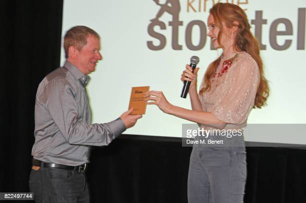 Lily Cole announces David Leadbeater as winner of the Kindle Storyteller Award 2017 at the Kindle Storyteller Award ceremony 2017 recognising newly...